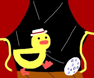 The drawception duck dancing by it's egg