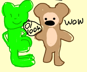 Green bear shows buttcrack to monkey