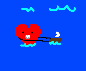 baby heart playing with a boat XD