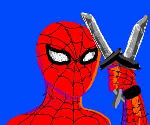 spider man with knives