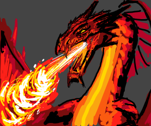 Fire-breathing red dragon