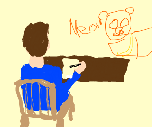 jon from garfield drawing with a table