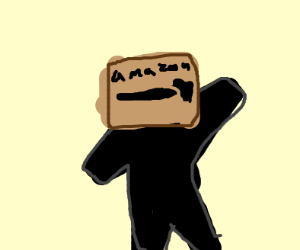 guy with amazon box as a hat