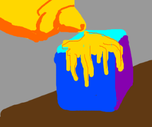 Put mustard on a blue cube
