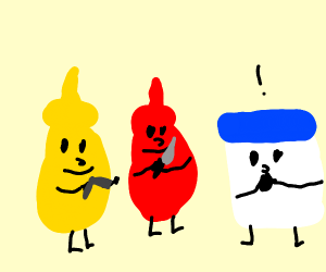 Mustard and ketchup is trying to kill mayo