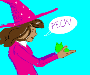 magician girl tells frog sidekick to PECK