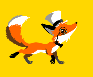 A fancy fox with a monocle.