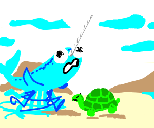 Narwhal with legs flips over turtle.