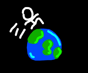 girl leaping over the earth