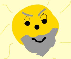 Scary sun man with beard