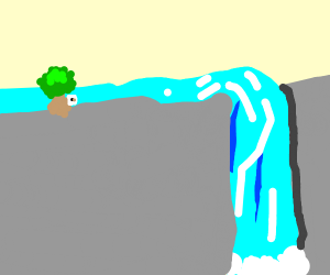paper commits suicide next to a waterfall