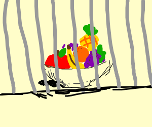 fruit bowl in a jail cell