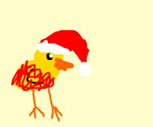Duck cosplays as Santa