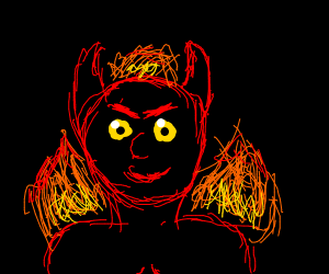 Satan laughs at you in front of a fire