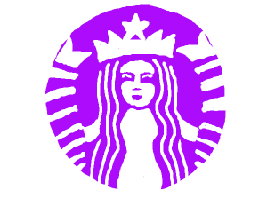 Starbucks logo but purple instead of green