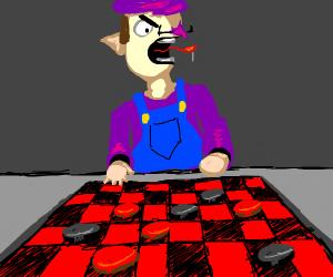 Waluigi plays checkers