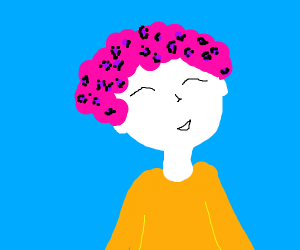boy with pink leopard hair