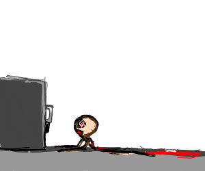 Bleeding man can't reach locked cabinet
