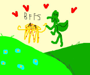 Cthulhu playing with flying spaghetti monster