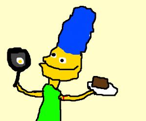 Marge Simpson making dinner