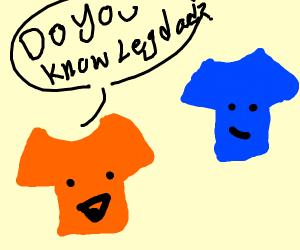 """Orange shirt asks Blue, """"Do you know LegDad?"""""""