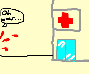 Bleeding person(out of view) outside hospital