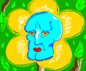 A flower with handsome squidward's face