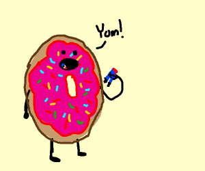 donut eating a police officer