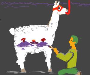 man draws mushroom hills on underwear llama