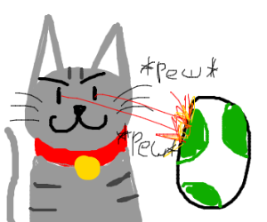 Cat fires a pew-pew laser at a Yoshi egg.