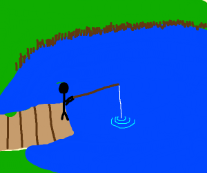 fishing at a pond