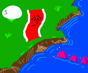 Deformed bacon apologizes to river creature