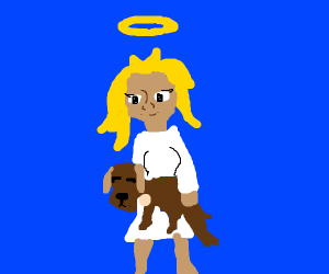 Angel taking a dog to heaven