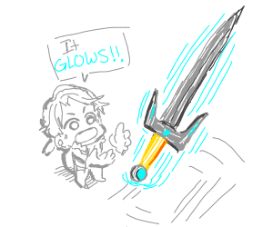 A lil guy finds a magical sword.  It glows!
