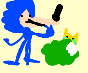 Tails hides from lanky Sonic