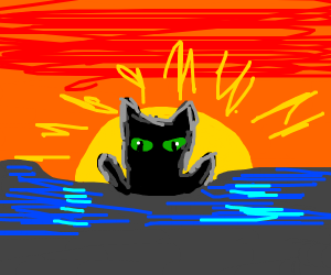 black cat rises from the deep
