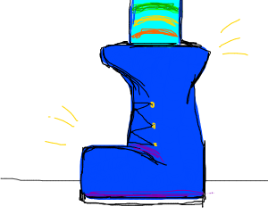 Cool blue boots, even cooler striped socks
