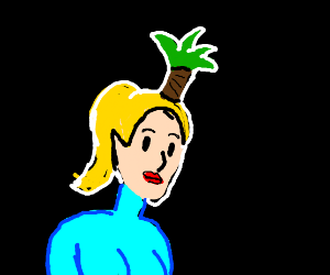 samus with a plant growing from her head