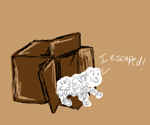 Whipped cream baby escapes cardboard box