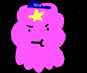lumpy space princess with policeman hat on