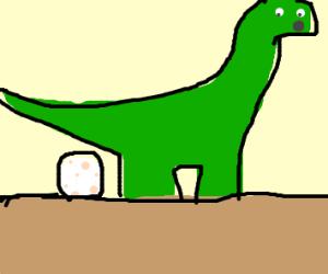 Dinosaur laying eggs