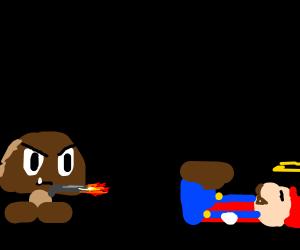 angry goomba shoots mario