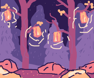 Midnight Forest with Lantern