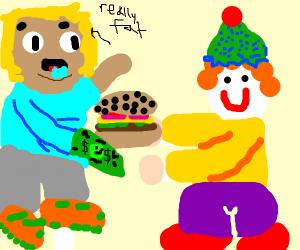 Clown sells hamburgers to fat people