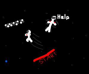 Astronaut in a spacewalk race