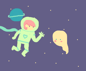 Pink haired astronaut waves to a nearby ghost