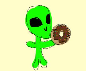 Alien carrying a Doughnut
