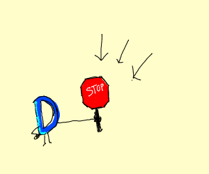 Holding a Stop Sign