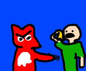 Angry fox angry at man with banana peel