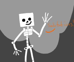 Skeleton greets salutations